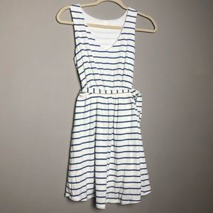 PinkBlush white tie waist dress with blue stripes